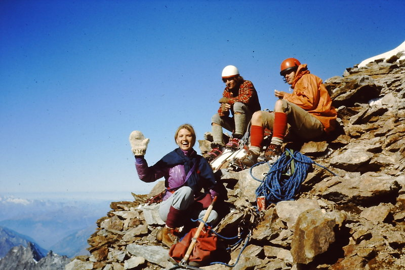 Summit of Matterhorn.  About 9:00 am.  Celebration with a $5.00 ('76 price) can of coke.<br> <br> August 8th, 1976