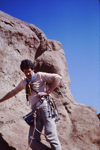 1982  Last pitch of Shiprock.  Totally camouflaged to avoid detection.