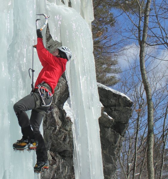 TRing some laps on a vertical column. Rumney, NH, January 2011.