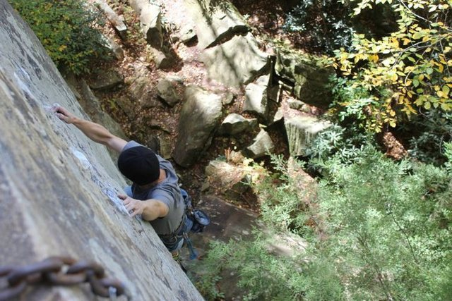 Hemisfear, 5.11d. Sadly, route is not currently climbable since Roadside Crag is closed.