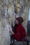Rock Climbing Photo: Jak about to get the side pull and set up for my f...