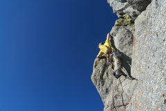 Rock Climbing Photo: Noah leading the pitch below the crest