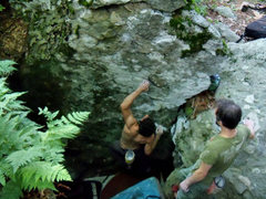 """Rock Climbing Photo: Aaron Parlier escaping """"The Pit"""" (V1) on..."""