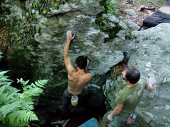 """Rock Climbing Photo: Aaron James Parlier escaping """"The Pit"""" (..."""