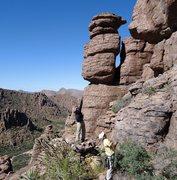 "Rock Climbing Photo: AMH and DAS scoping ""Hanuman's Eyes"" wit..."