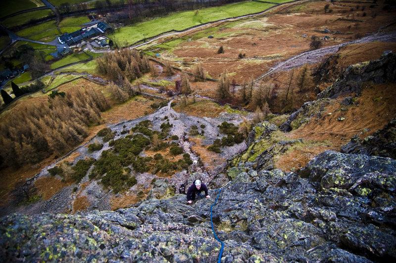 Climbing in Raven Crag (Langdale)
