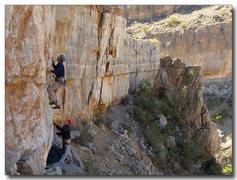 Rock Climbing Photo: Mark on cruxy start of Semi Bluff