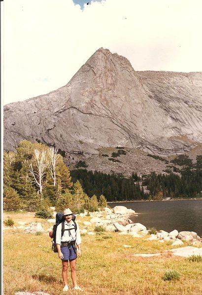 Rock Climbing Photo: JB at Deep Lake, Wind Rivers, Aug 1988
