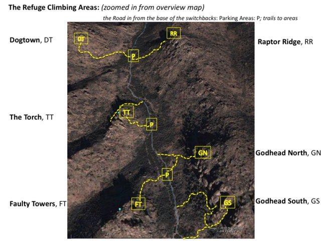 Refuge Climbing areas map