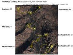 Rock Climbing Photo: Refuge Climbing areas map