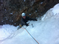 Rock Climbing Photo: Excellent quality ice on the top of last pitch.