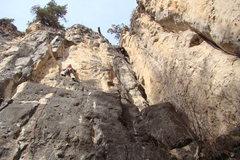 """Rock Climbing Photo: Chris P. """"Tator Tot"""" climbs past the sla..."""
