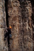 Rock Climbing Photo: About half-way up 1902, 5.10d. This route has grea...