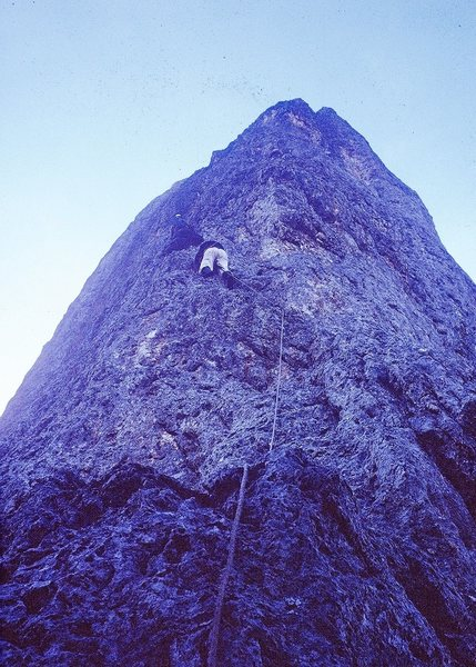 On the middle buttress, Scarf Arete 1963. Giacomo Scalet leading.