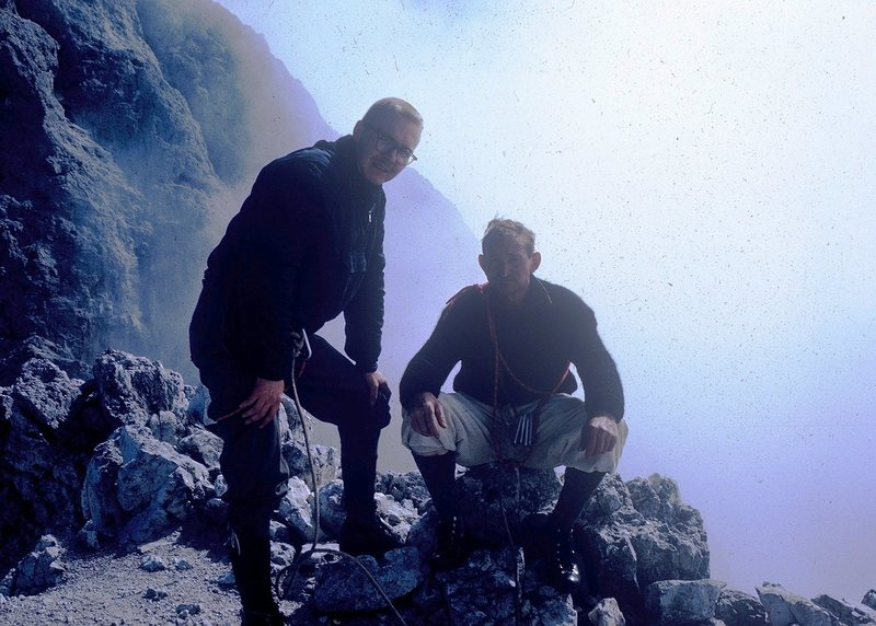 Rodger Raubach (L) and Giacomo Scalet (R) on summit of Scarf Arete, Cima della Madonna, 1963.