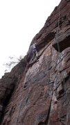 Rock Climbing Photo: DAS preparing to pull the roof (second crux!). For...