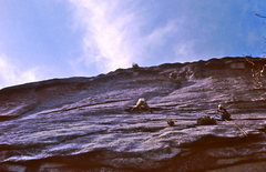Rock Climbing Photo: Starting the crux pitch.  Dave Smith belaying from...