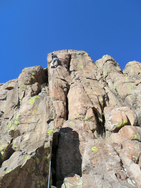 At the crux, great route with few bolts.