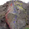 Any input welcome as far as the grades go... I thought the first few moves at The Ghost Crag were easier than this (bolt below first fixed piece), but I have not successfully climbed either, except the yellow route(s) in the picture....