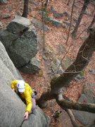 Rock Climbing Photo: Doug H. leading Swillbillies at OldSS #1.  Great w...