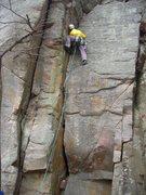 Rock Climbing Photo: Doug H. leading Everleigh Club Crack.  He thinks i...