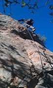 Rock Climbing Photo: Just above the 2nd bolt. With pack....