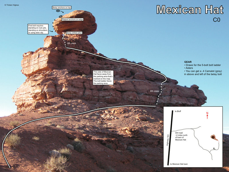 Not that this thing really needs a topo... There's a PDF version of this formatted to fit on an 8.5 x 11 page here: http://www.thealoof.com/climbing-mexican-hat-utah/
