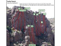 Rock Climbing Photo: Faulty Towers climbs close up