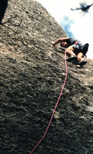 Rock Climbing Photo: Standing on the yellow jug. Early 90's