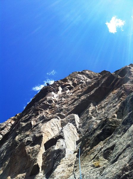 Beautiful sky.  Just below the crux moves.