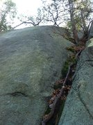 Rock Climbing Photo: The route goes up the shallow buttress trending sl...