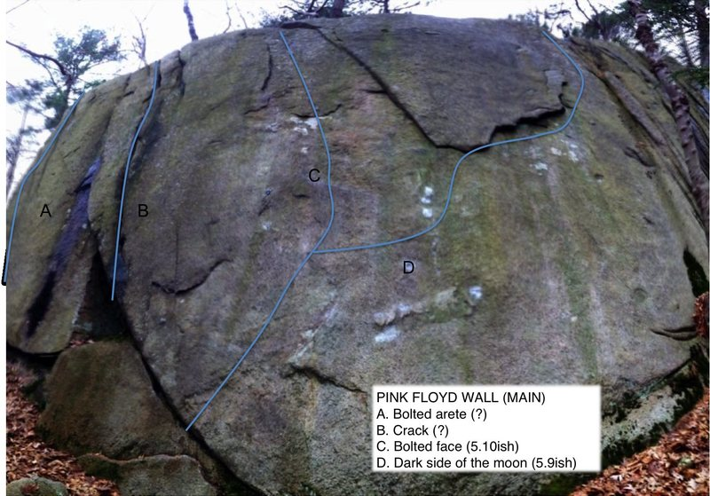 Climbs on The Pink Floyd Wall at Redrock in MA.