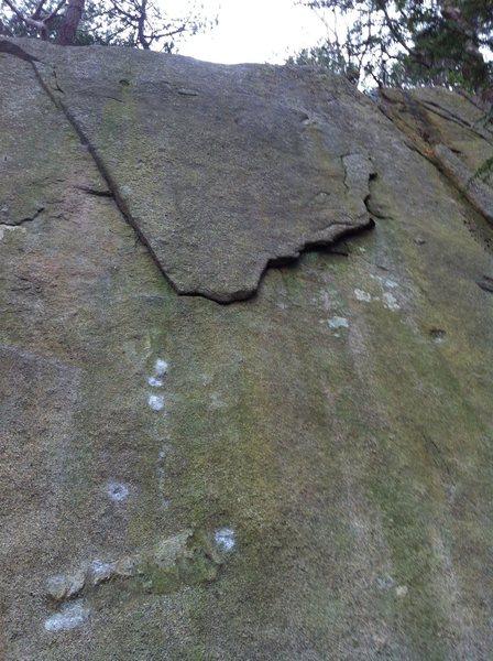 "Rock Climbing Photo: ""Dark Side of the Moon"" flake."