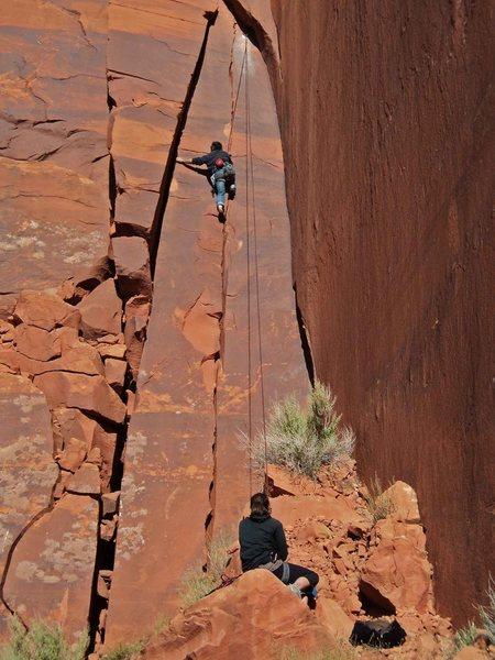 Rock Climbing Photo: Tim running a lap on Dirty Girl.