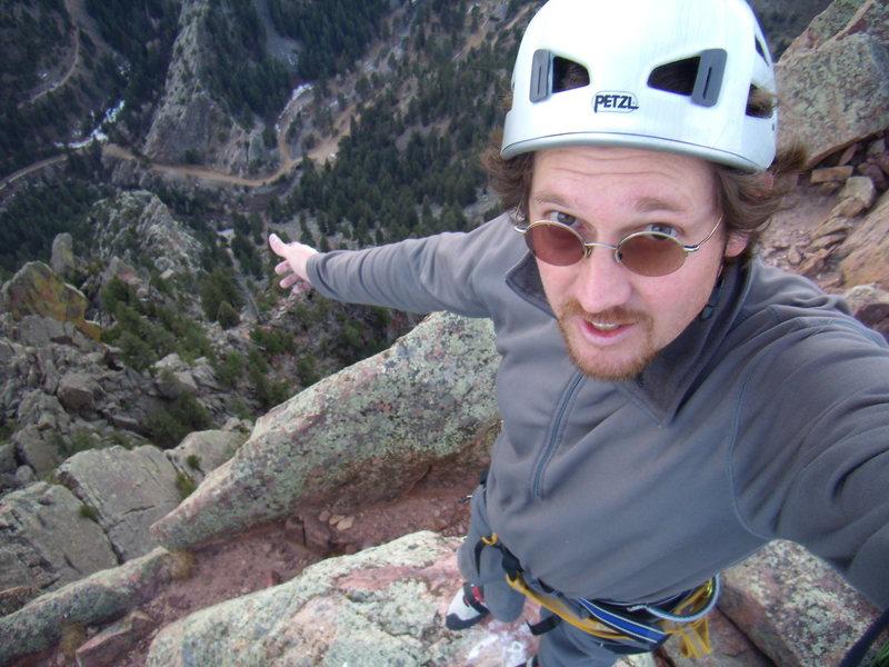 Self Portrait on the summit of Shirt Tail Peak after climbing Gambit.  Thanksgiving break 2011.