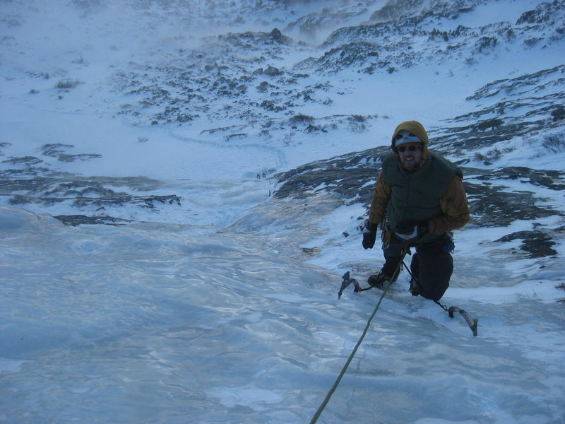 All Mixed Up - RMNP on 11/26/2011.  Alan Ream following the first pitch. Photo by Mike Walley.