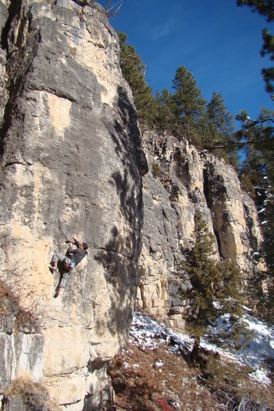 Lucky Strike, 5.10c/d <br> <br> Jake would rather fight than quit.
