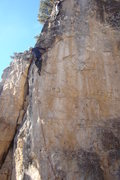 Rock Climbing Photo: Me pulling the roof on the Witchnose Arete. This c...