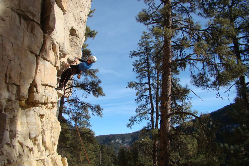 Me setting up for that crucial first dynamic move at the start of Pete's Wicked Route, 5.11c.<br> <br> The Prow, Sunshine Wall.<br> Spearfish Canyon, SD.