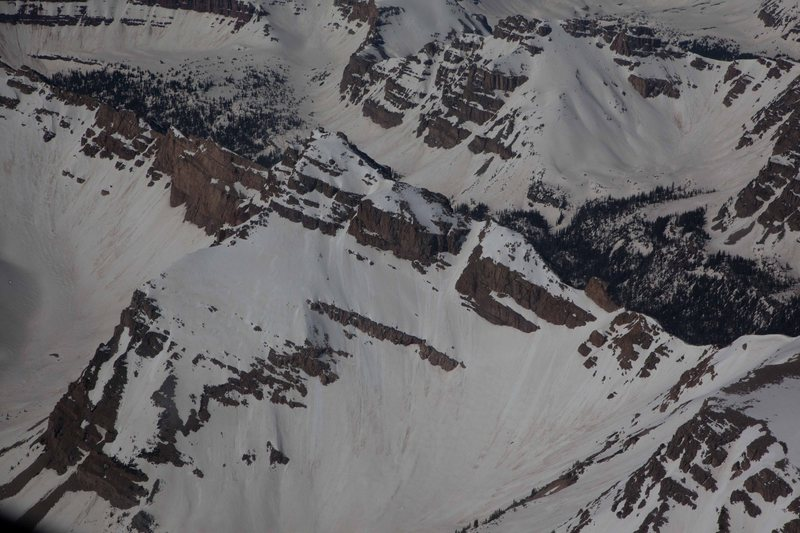 Aerial view of Mount Beulah seen from the East. The NE Couloir gains the N. Ridge