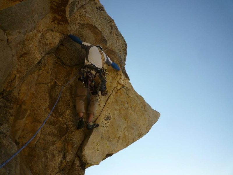 Getting on the horn.  Photo by Dave Daly at the belay.