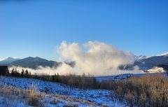 Rock Climbing Photo: Tenmile Range hidden by steam from Lake Dillon.