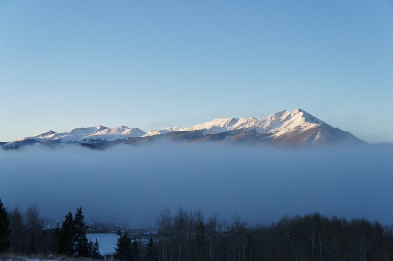 Tenmile Range partly hidden by steam from Lake Dillon; Quandary on the left.