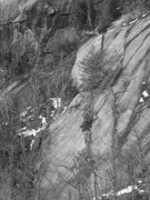 Rock Climbing Photo: The Flat Iron follows the clean left most slab to ...