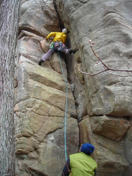 Rock Climbing Photo: Doug leading Africa Crack on day after Turkey Day.