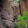 A climber on Easy Pool on a perfect November afternoon