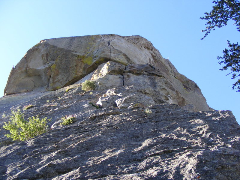 the route, from the belay landing