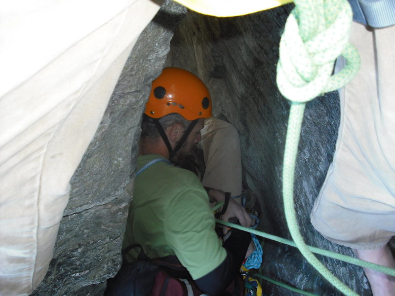 Climbing under the stone below the last pitch of the daddy.  Good place to relax and take shelter from the wind.