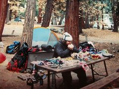 Rock Climbing Photo: Camp 4 -El Cap gear sort on a cold November mornin...