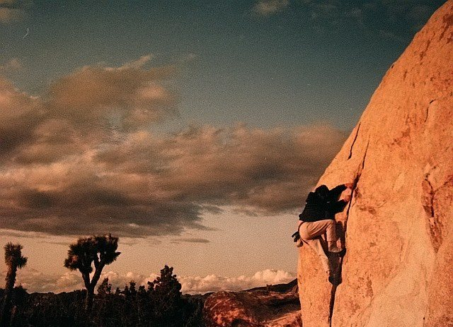 J Tree -Ryan campground - High Bouldering on 'The Flake'.